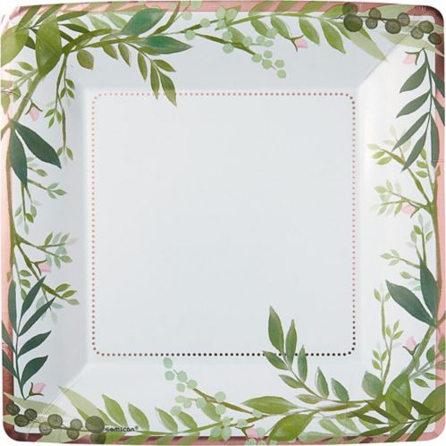 Metallic Floral Greenery Lunch Plates, 8-pk