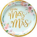 Assiettes à déjeuner métallisées à motif floral Mint to be, paq. 8