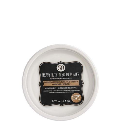 Eco-Friendly White Sugar Cane Dessert Plates, 50-pk Product image