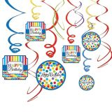 Rainbow Dot & Chevron Birthday Swirl Decorations, 12-pc