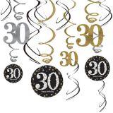 Décorations en spirale 30eanniversaire célébration scintillante, 12pièces