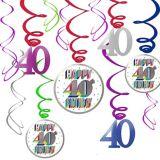 Décorations en spirale pour 40e anniversaire, paq. 12