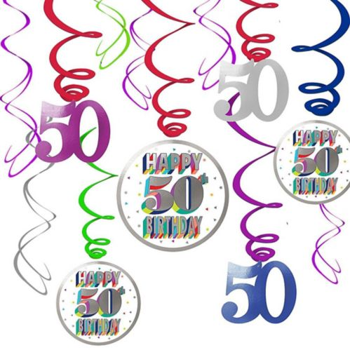 Here's to 50 Birthday Swirl Decorations, 12-pc