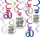 Here's to 60 Birthday Swirl Decorations, 12-pc