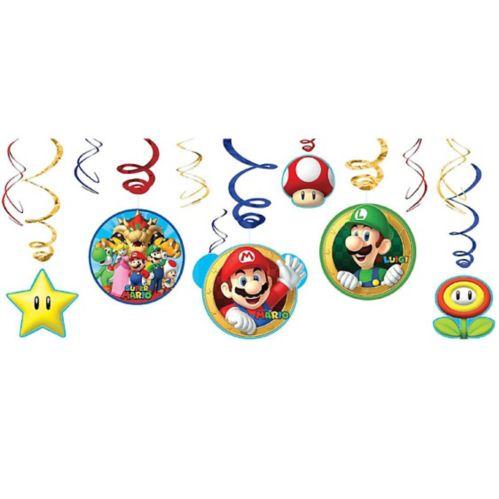 Super Mario Swirl Decorations, 12-pc