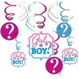 Girl or Boy Gender Reveal Swirl Decorations, 12-pc | Amscannull