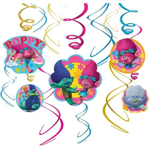 Trolls Swirl Decorations, 12-pc