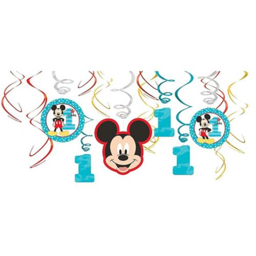 1st Birthday Mickey Mouse Swirl Decorations, 12-pc