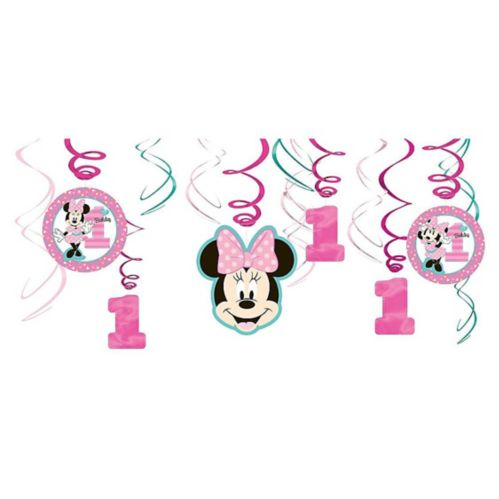 1st Birthday Minnie Mouse Swirl Decorations, 12-pc