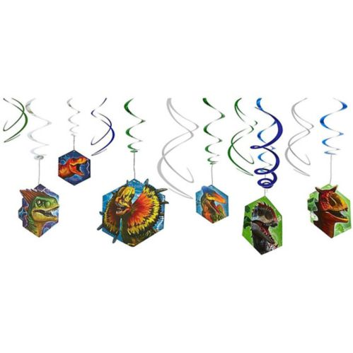 Décorations en spirale Monde jurassique, paq. 12