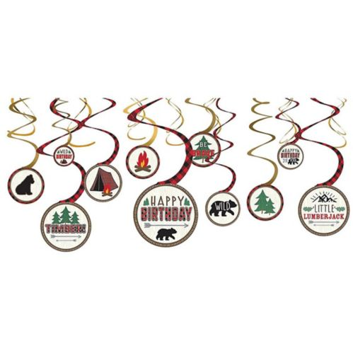 Little Lumberjack Swirl Decorations, 12-pk