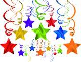 Décorations en spirales multicolores avec étoiles, tons de bijoux, paq. 30