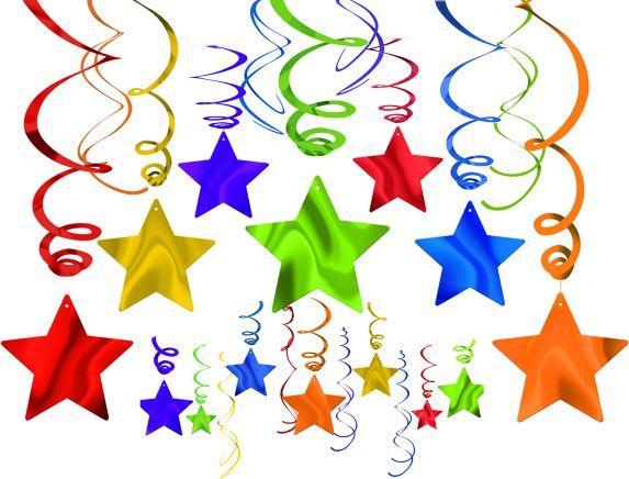 Décorations en spirales multicolores avec étoiles, tons de bijoux, paq. 30 Image de l'article