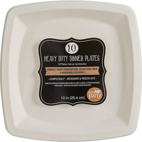 Eco-Friendly White Sugar Cane Square Dinner Plates, 10-pk