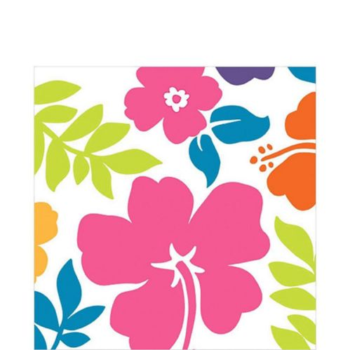 Hibiscus White Lunch Napkins, 100-pk