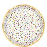 Rainbow Confetti Dessert Plates, 18-pk