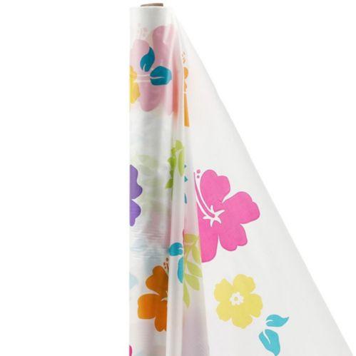Nappe en rouleau blanche à motif d'hibiscus