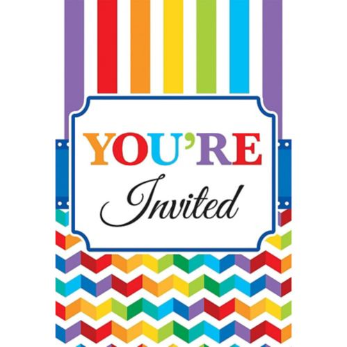 Bright Rainbow Chevron Birthday Invitations, 20-pk