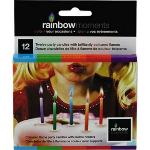 Multi-Colour Flame Candles, 12-ct