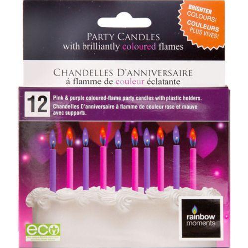 Bougies à flamme colorée rose et violet, paq. 12 Image de l'article