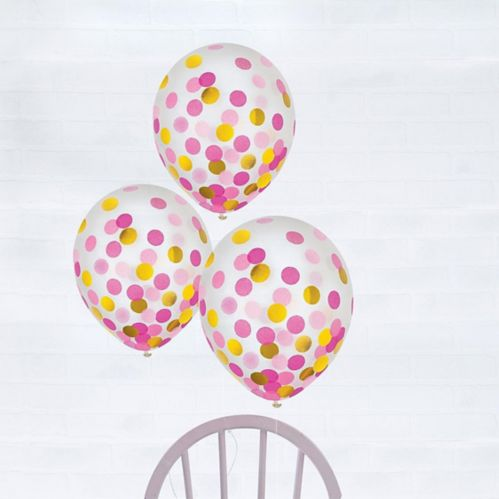 Gold & Pink Confetti Balloons, 6-pk