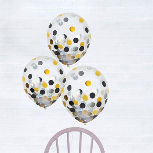 Ballons à confettis, noir, or et argent, paq. 6