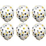 Ballons à confettis, noir, or et argent, paq. 6 | Amscannull
