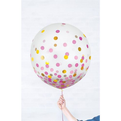 Round Gold & Pink Confetti Balloons, 2-pk