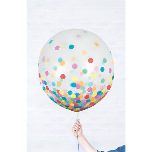 Ballons ronds à confettis multicolores, paq. 2