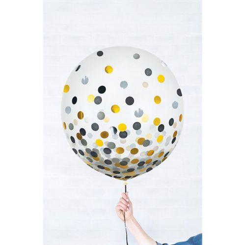 Ballons ronds à confettis dorés et argentés, paq. 2
