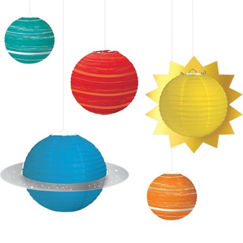 Blast Off Planet Paper Lanterns, 5-pc