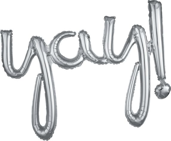 Air-Filled Yay Cursive Letter Balloon Banner