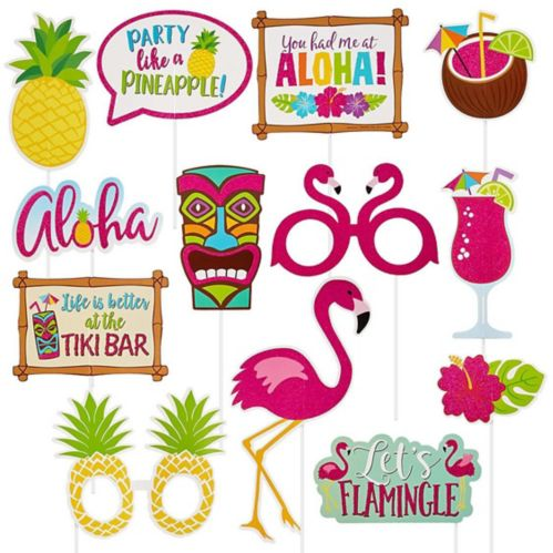 Glitter Tropical Photo Booth Props, 13-pk
