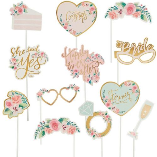 Mint To-Be Floral Photo Booth Props, 13-pc