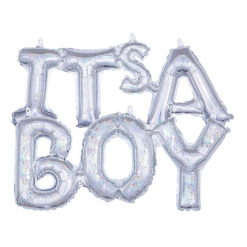 Air-Filled Prismatic Silver It's A Boy Letter Balloon Banners, 2-pk