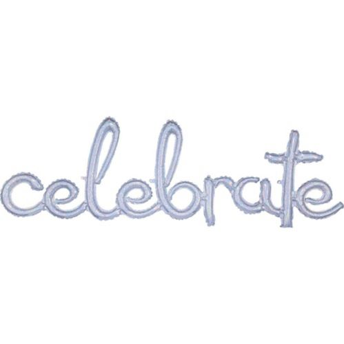 Air-Filled Prismatic Silver Celebrate Cursive Letter Balloon Banner