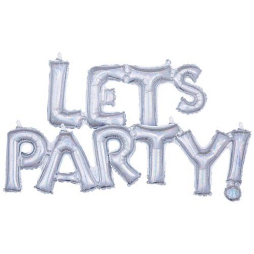 Air-Filled Prismatic Silver Let's Party Cursive Letter Balloon Banners, 2-pk