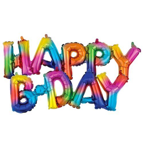 Air-Filled Rainbow Splash Happy B-Day Cursive Letter Balloon Banners, 2-pk