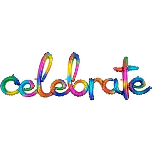 Air-Filled Rainbow Splash Celebrate Cursive Letter Balloon Banner