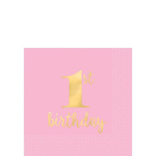 Serviettes à boissons de qualité supérieure 1er anniversaire, rose et doré métallisé, paq. 16 Image de l'article