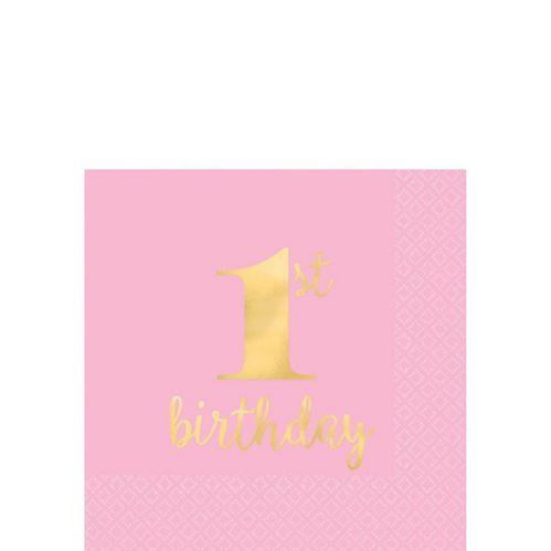 Metallic Pink & Gold 1st Birthday Premium Beverage Napkins, 16-pk