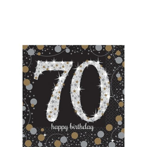 Sparkling Celebration 70th Birthday Beverage Napkins, 16-pk