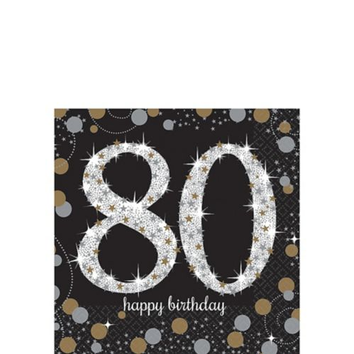 Sparkling Celebration 80th Birthday Beverage Napkins, 16-pk