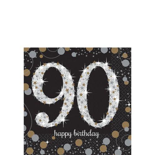 Sparkling Celebration 90th Birthday Beverage Napkins, 16-pk