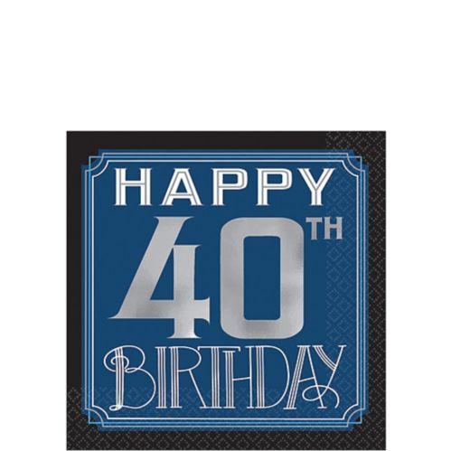 Serviettes à boisson rétro Happy Birthday, 40e anniversaire, paq. 16 Image de l'article