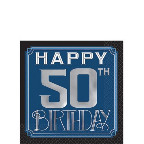 Vintage Happy Birthday 50th Birthday Beverage Napkins, 16-pk