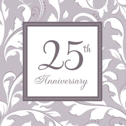 Serviettes de table argentées 25th Anniversary, paq. 16 Image de l'article