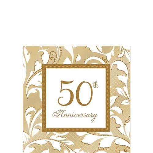 Serviettes à boisson 50e anniversaire doré, paq. 16 Image de l'article