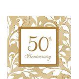 Serviettes de table 50e anniversaire doré, paq. 16 | Amscannull