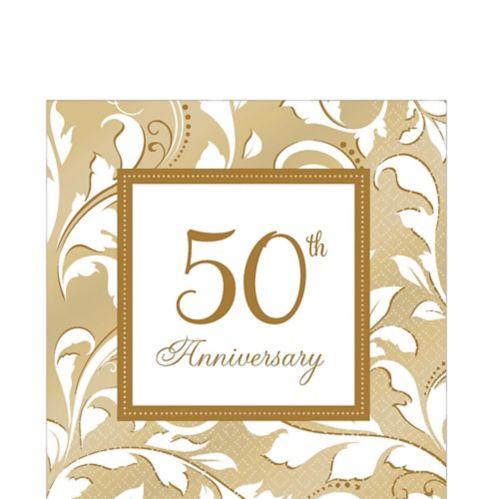 Serviettes de table 50e anniversaire doré, paq. 16